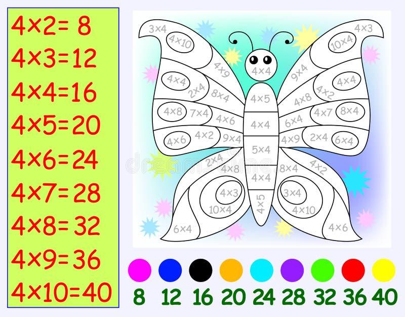 Oefening voor kinderen met vermenigvuldiging door vier Behoefte om vlinder in relevante kleur te schilderen royalty-vrije illustratie