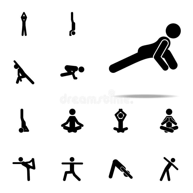 oefening, yogapictogram voor Web wordt geplaatst dat en het mobiele algemene begrip van yogapictogrammen royalty-vrije illustratie