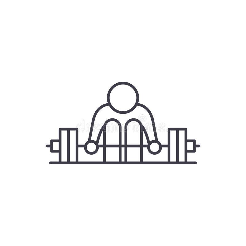 Oefeningen met een het pictogramconcept van de barbelllijn Oefeningen met een barbell vector lineaire illustratie, symbool, teken stock illustratie