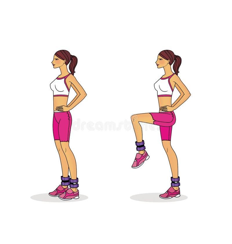 Oefeningen om de benen te versterken die met wegende agent gebruiken Ge?soleerdj op witte achtergrond royalty-vrije stock foto