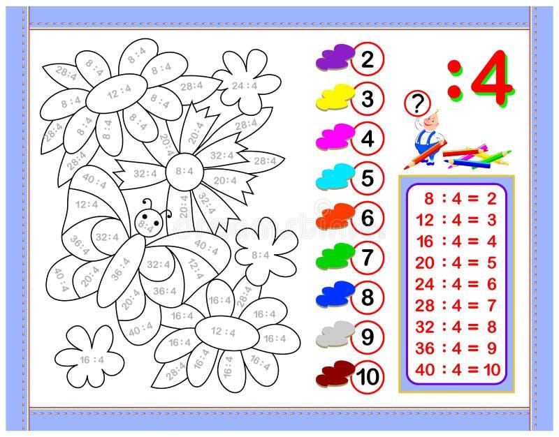 Oefeningen voor jonge geitjes met afdeling door nummer 4 Schilder het beeld Onderwijspagina voor het boek van de wiskundebaby Voo vector illustratie