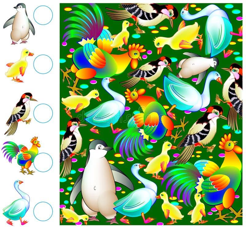 Oefeningen voor jonge kinderen - moet de vogels tellen en de overeenkomstige aantallen in cirkels trekken royalty-vrije illustratie
