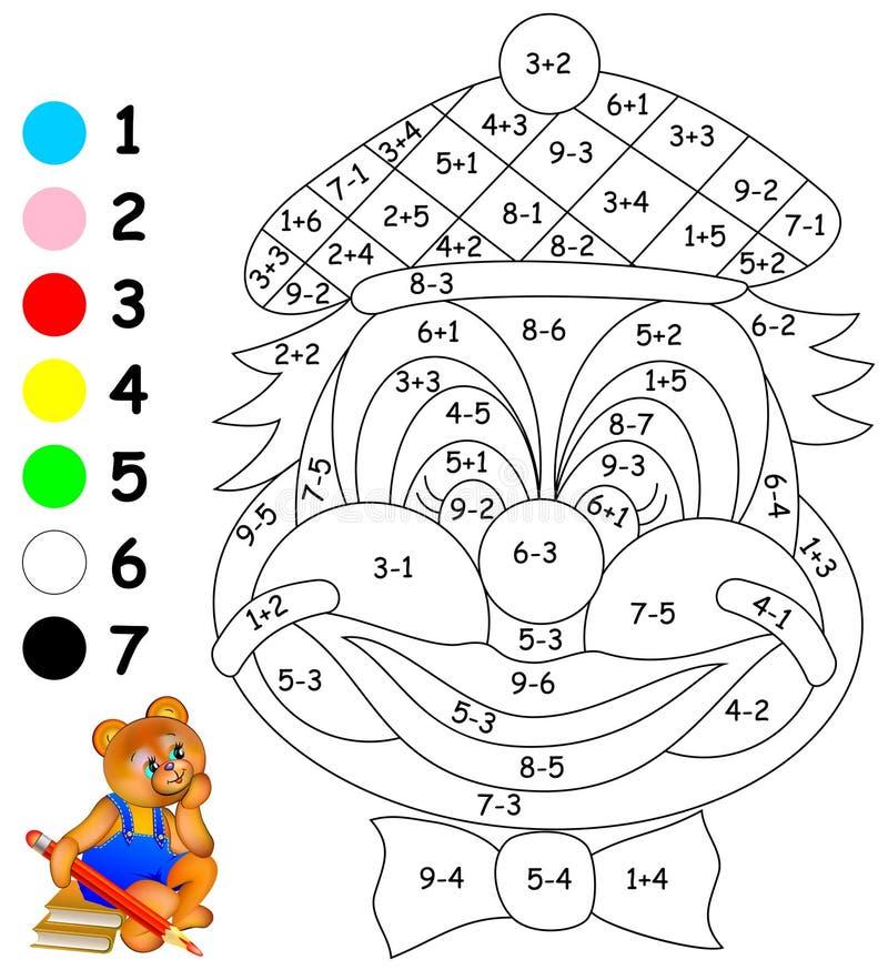 Oefeningen voor kinderen - moet beeld in relevante kleuren schilderen vector illustratie