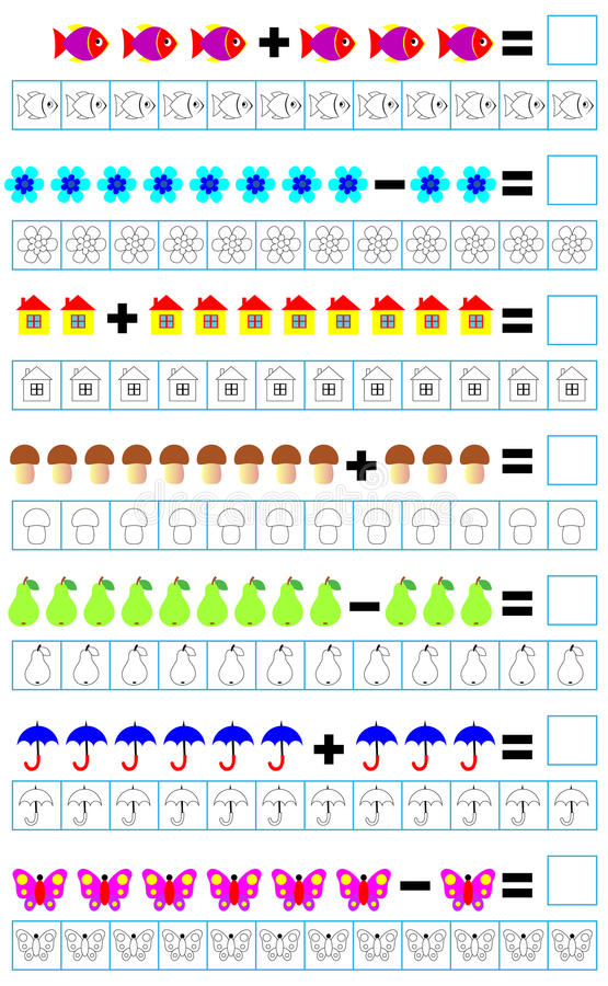 Oefeningen voor kinderen - moet voorbeelden oplossen en het overeenkomstige aantal voorwerpen schilderen vector illustratie