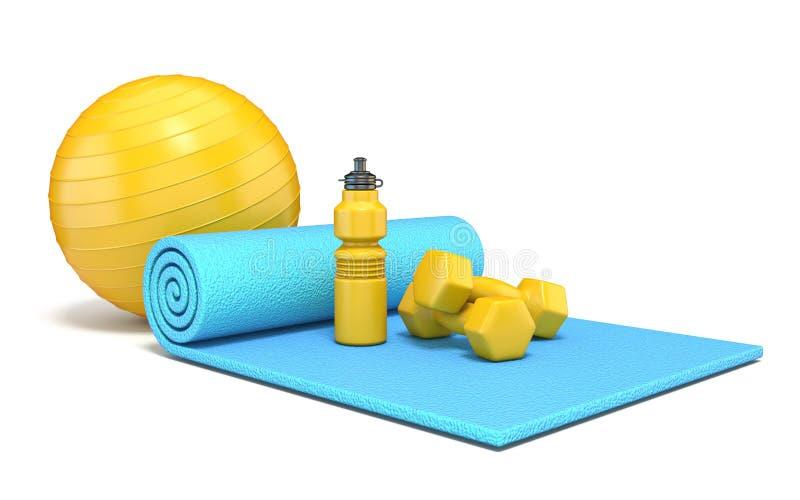 Oefeningsmat met gewichten, 3D geschiktheidsbal en watter fles stock illustratie