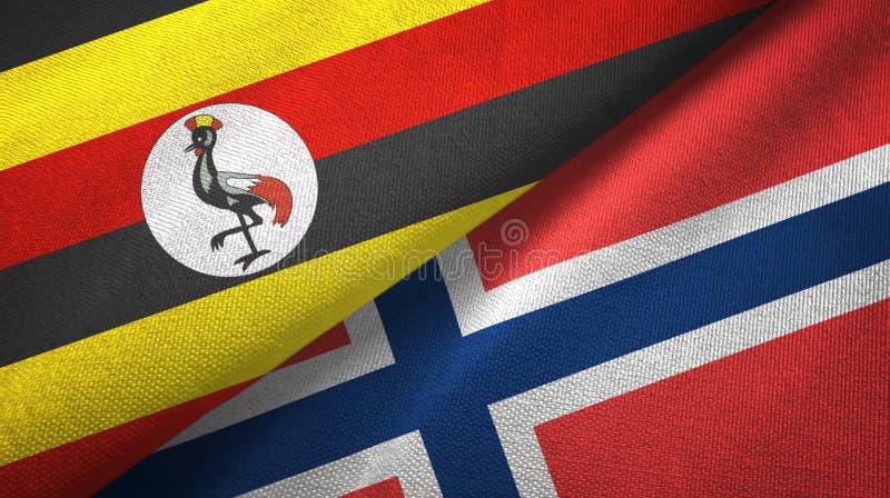 Oeganda en Noorwegen twee vlaggen textieldoek, stoffentextuur stock illustratie
