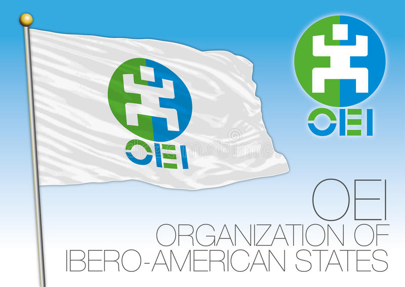 OEI-organisation av denamerikan tillståndsflaggan vektor illustrationer