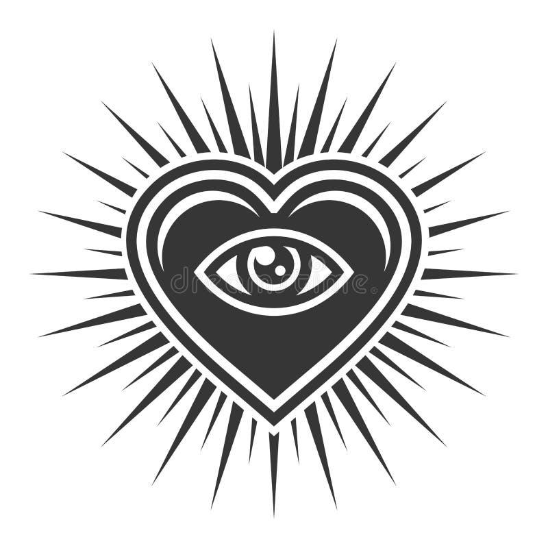 Oeil à l'intérieur de signe de coeur Icône maçonnique sur le fond blanc Vecteur illustration libre de droits
