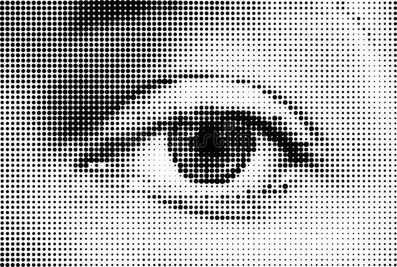 Oeil abstrait de femme fait à partir des points. Vecteur illustration libre de droits