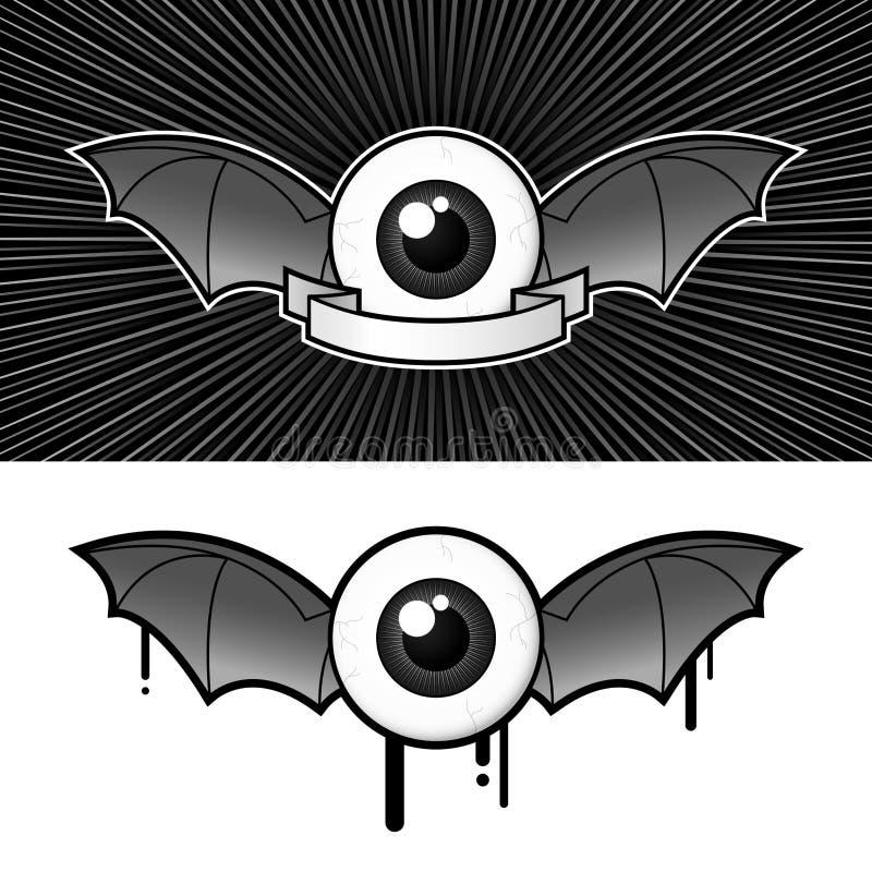 Oeil avec les ailes et le drapeau de 'bat' illustration libre de droits