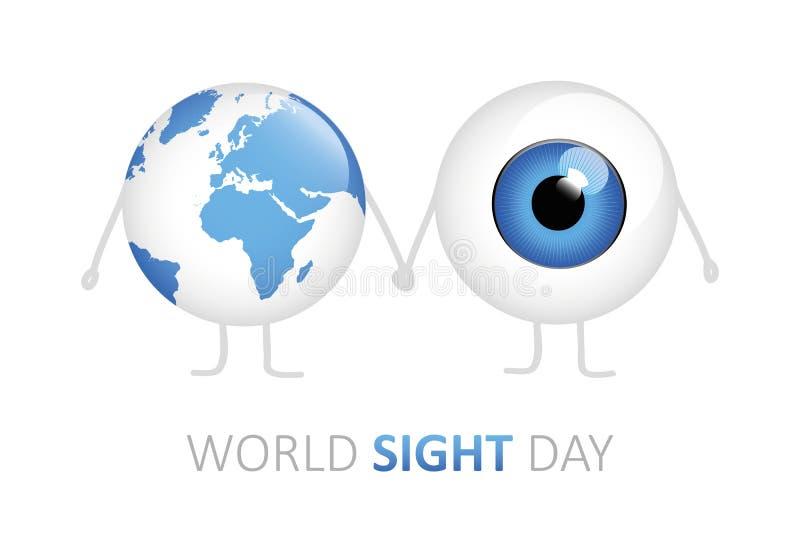 Oeil bleu et terre de jour de vue du monde tenant la bande dessinée de mains illustration stock