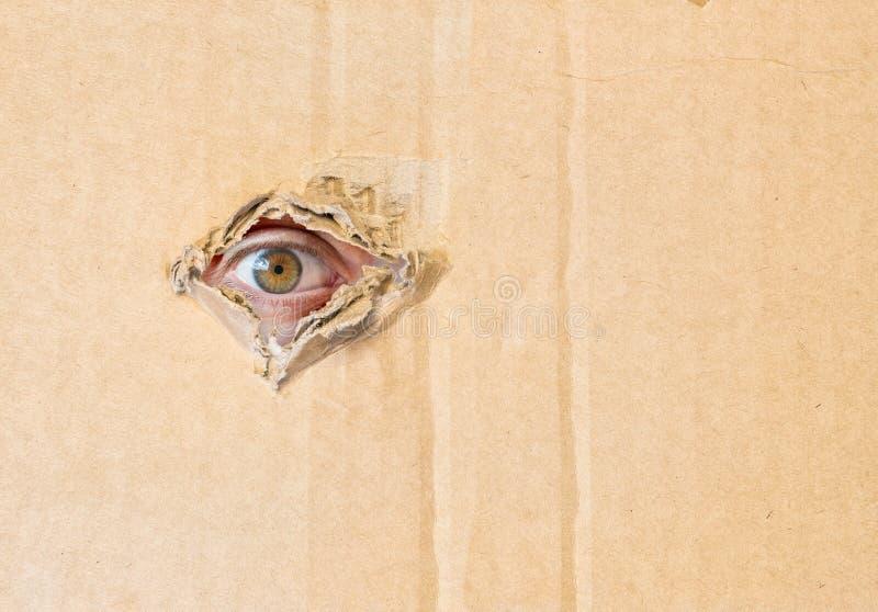 Oeil caché observant par le trou en papier de carton photo libre de droits
