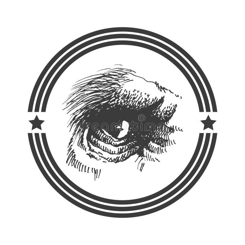 Oeil d'animal de vecteur. Tiré par la main. Eps8 illustration stock