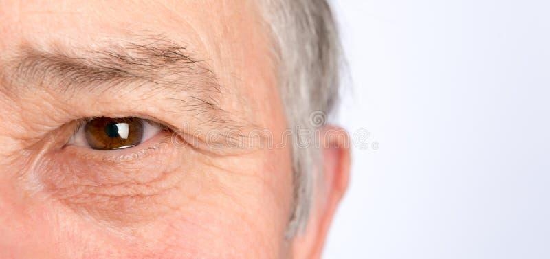 Oeil d'homme supérieur Photo horizontale images stock