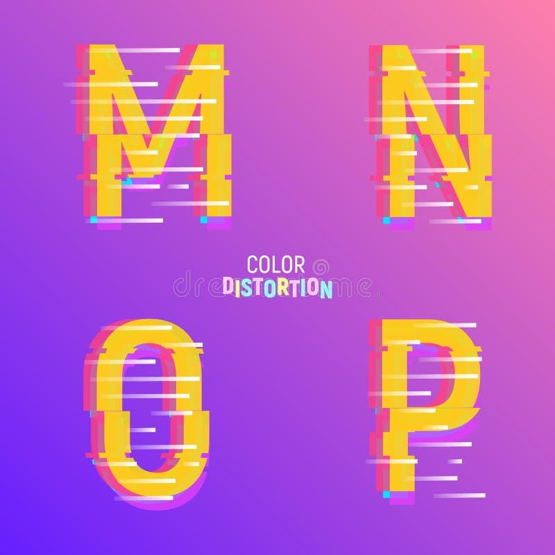 Oeil d'un caractère avec l'effet de problème Police avec l'effet chromatique de couleur d'aberartion illustration de vecteur