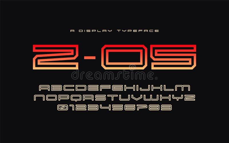 Oeil d'un caractère en affichage par frappe de Z 05, police, alphabet, typographie illustration stock