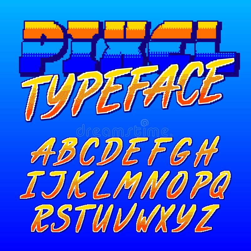 Oeil d'un caractère en pixel Rétro police d'alphabet de jeu électronique Lettres majuscules de manuscrit illustration stock