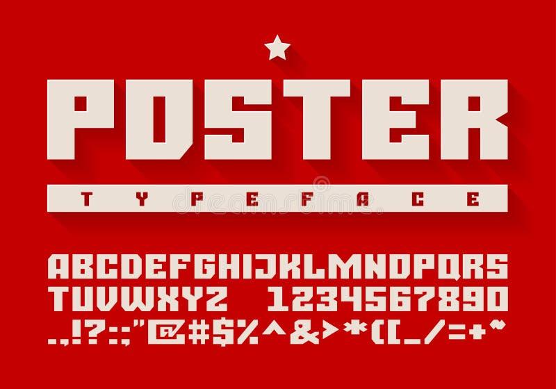 Oeil d'un caractère lourd Lettres majuscules, nombres et symboles illustration stock