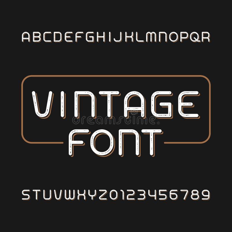 Oeil d'un caractère malpropre en vintage Rétro police d'alphabet Dactylographiez les lettres et les nombres illustration de vecteur