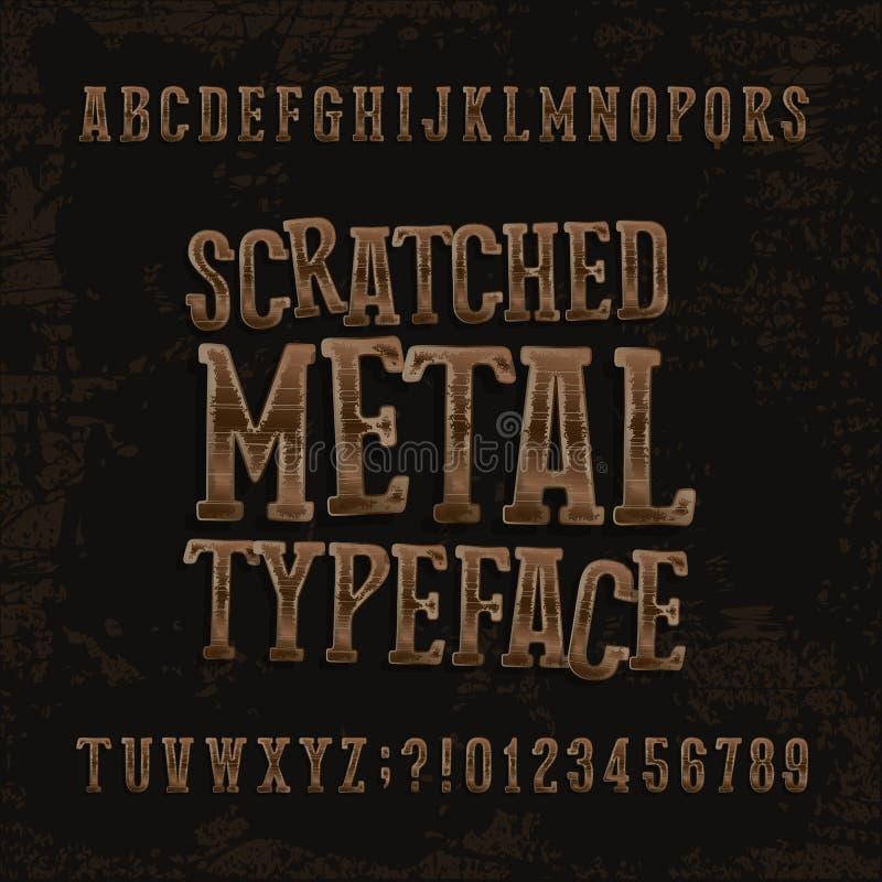 Oeil d'un caractère rayé en métal Rétro police d'alphabet Lettres et nombres métalliques sur un fond approximatif foncé illustration libre de droits