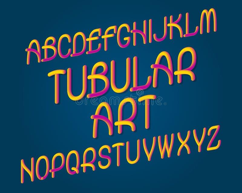 Oeil d'un caractère tubulaire en art Police de plastique de gradient Alphabet anglais d'isolement illustration stock
