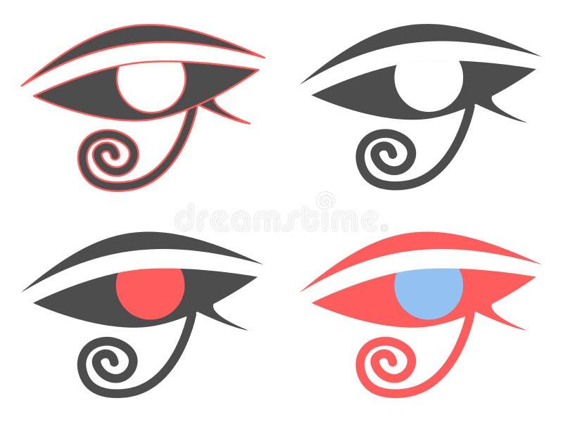 Oeil de Horus Symbole égyptien antique d'amulette Ensemble d'icônes sur un fond blanc Vecteur illustration libre de droits