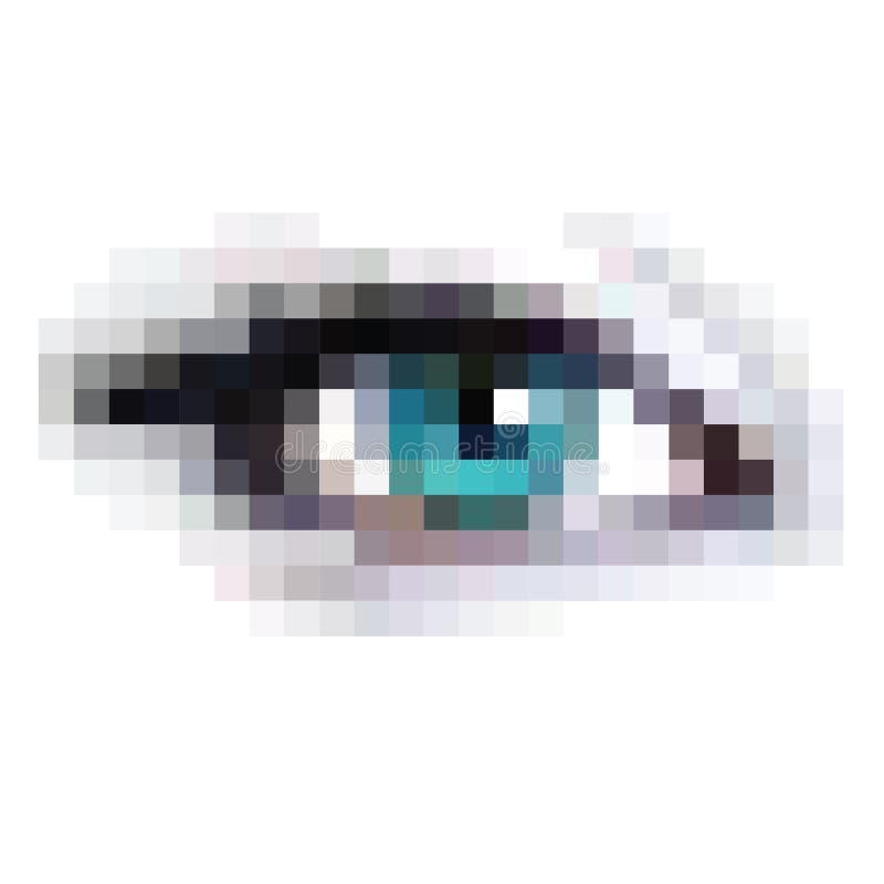 Oeil de pixel pour des applications de pointe de beauté ou de science illustration stock