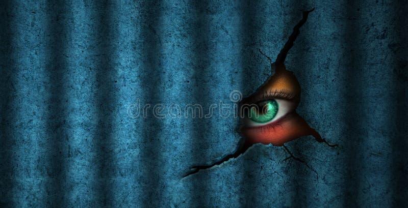 Oeil de prisonnier et de surveillance illustration de vecteur