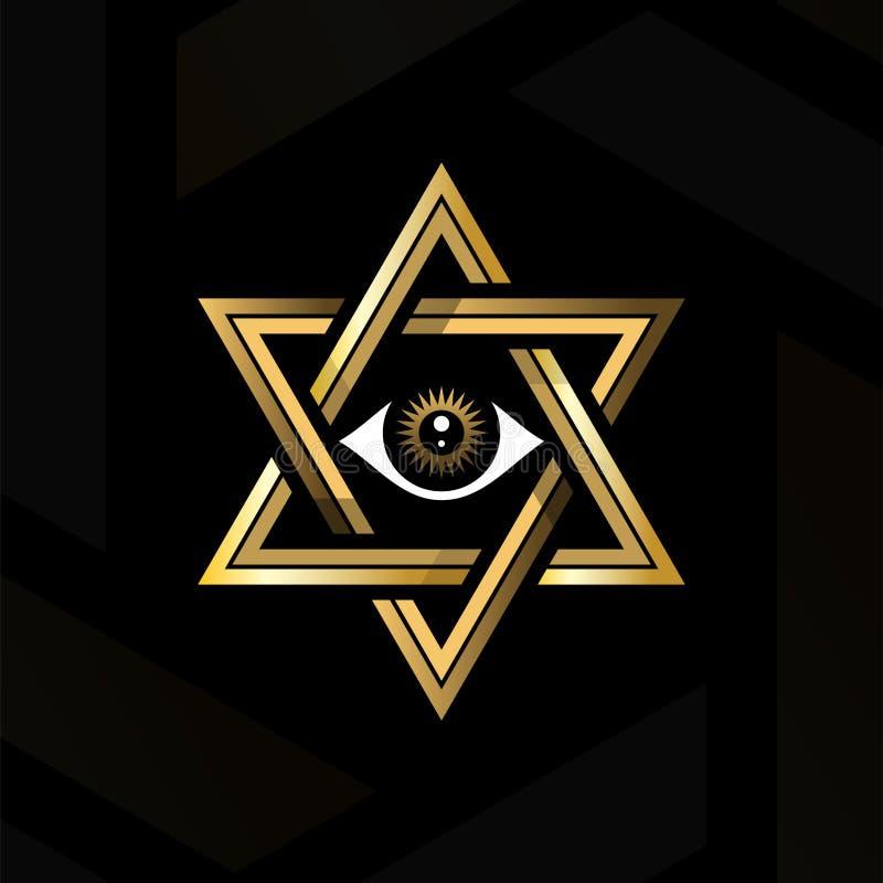 Oeil de providence au centre du hexagram E r illustration stock