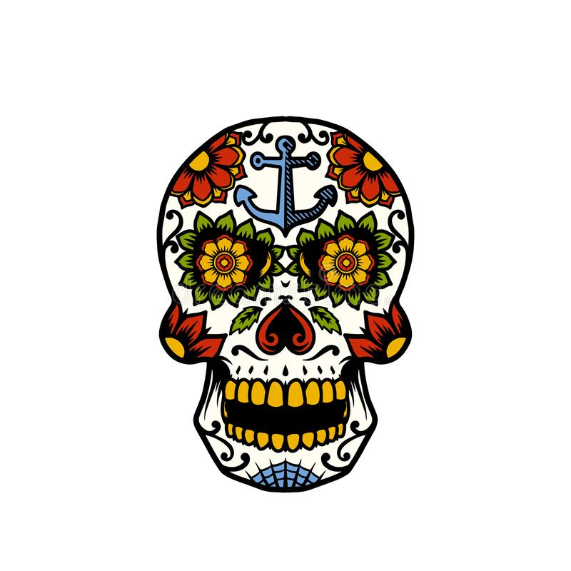 Oeil de Sugar Skull With Anchor et de fleur photo libre de droits