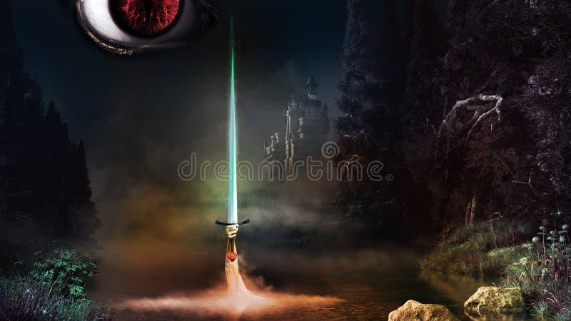Oeil et épée de magie illustration de vecteur