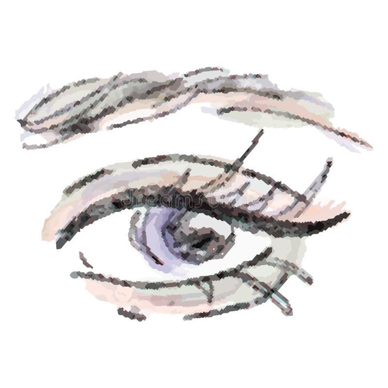 Oeil et fronts élégants de Madame avec de pleines mèches illustration libre de droits