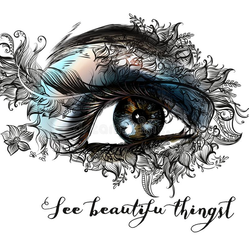 Oeil femelle d'illustration de mode bel illustration libre de droits