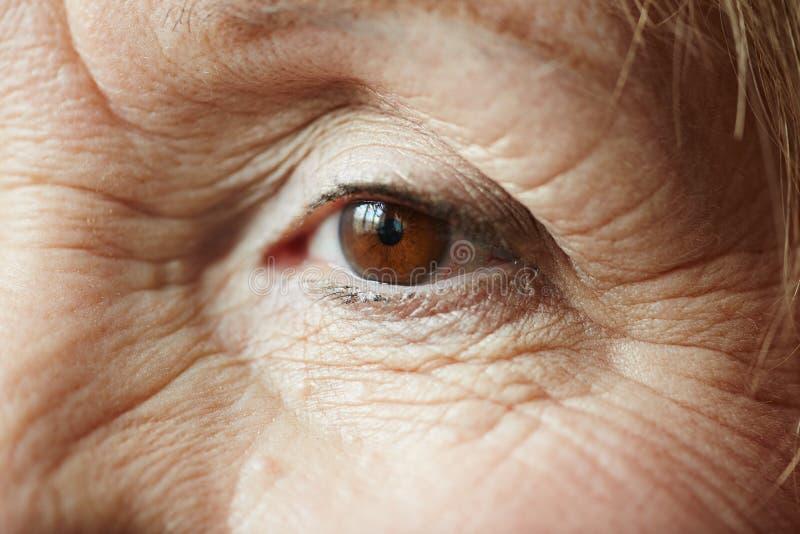 Oeil femelle de femme agée photos libres de droits