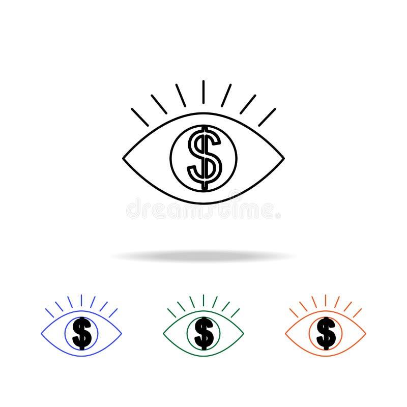 Oeil humain avec l'insideicon de symbole dollar Éléments des immobiliers dans les icônes colorées multi Icône de la meilleure qua illustration de vecteur