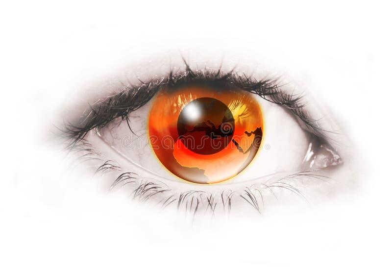 Oeil humain avec la terre orange au lieu de l'iris illustration libre de droits