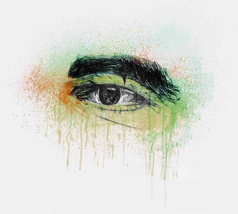 Oeil humain d'un vieil homme avec les sourcils épais - crayonnez le croquis et la couleur d'eau illustration libre de droits