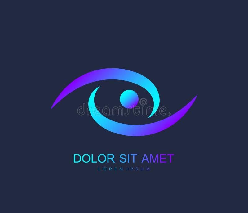 Oeil moderne Logo Design Vector Template Concept créatif de Logotype de vision d'oeil d'icône Logo coloré d'oeil illustration stock
