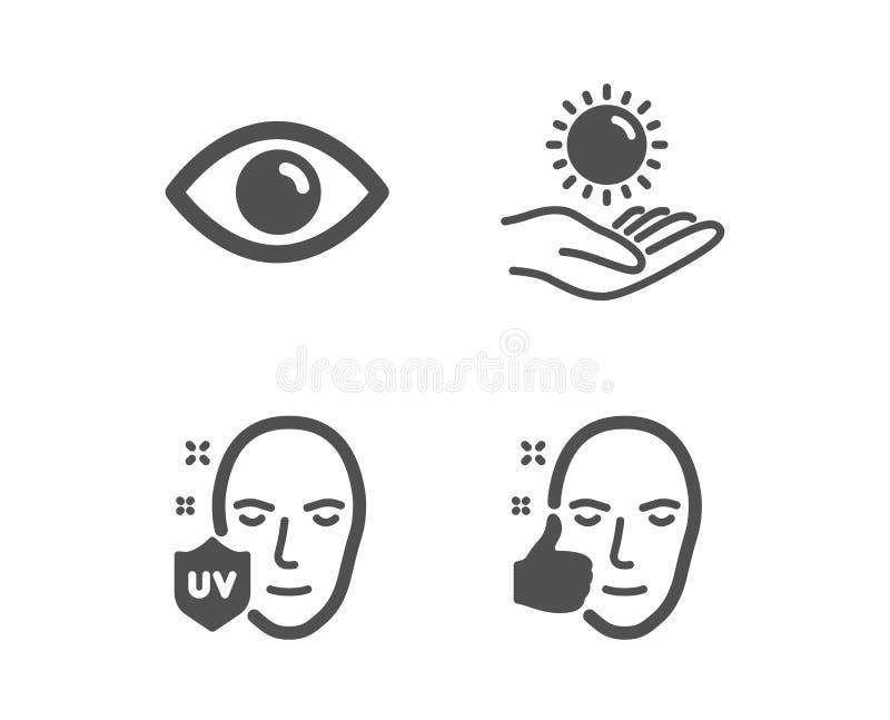 Oeil, protection UV et icônes de protection de Sun Signe sain de visage Vue ou vision, l'ultraviolet, soin ultra-violet Vecteur illustration de vecteur