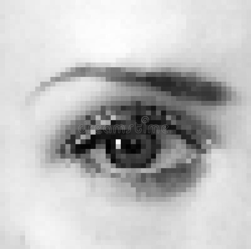 Oeil réaliste de femme de pixel illustration libre de droits