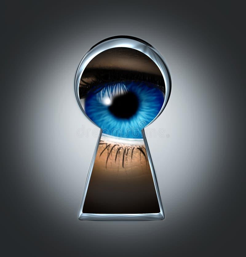Oeil regardant par un trou de la serrure illustration libre de droits