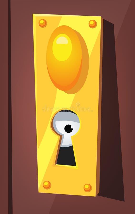 oeil remarquant derri re le trou de la serrure de porte illustration de vecteur illustration. Black Bedroom Furniture Sets. Home Design Ideas