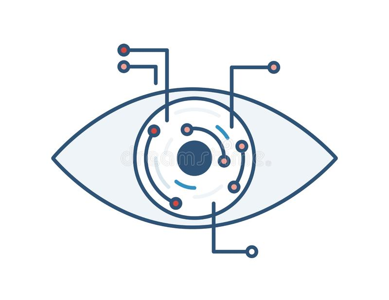Oeil robotique ou électronique Intelligence artificielle, technologie de pointe et futée, innovation technologique Visibilit? de  illustration stock