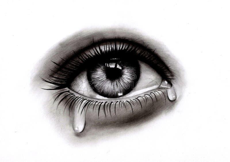 Oeil triste avec la larme illustration stock