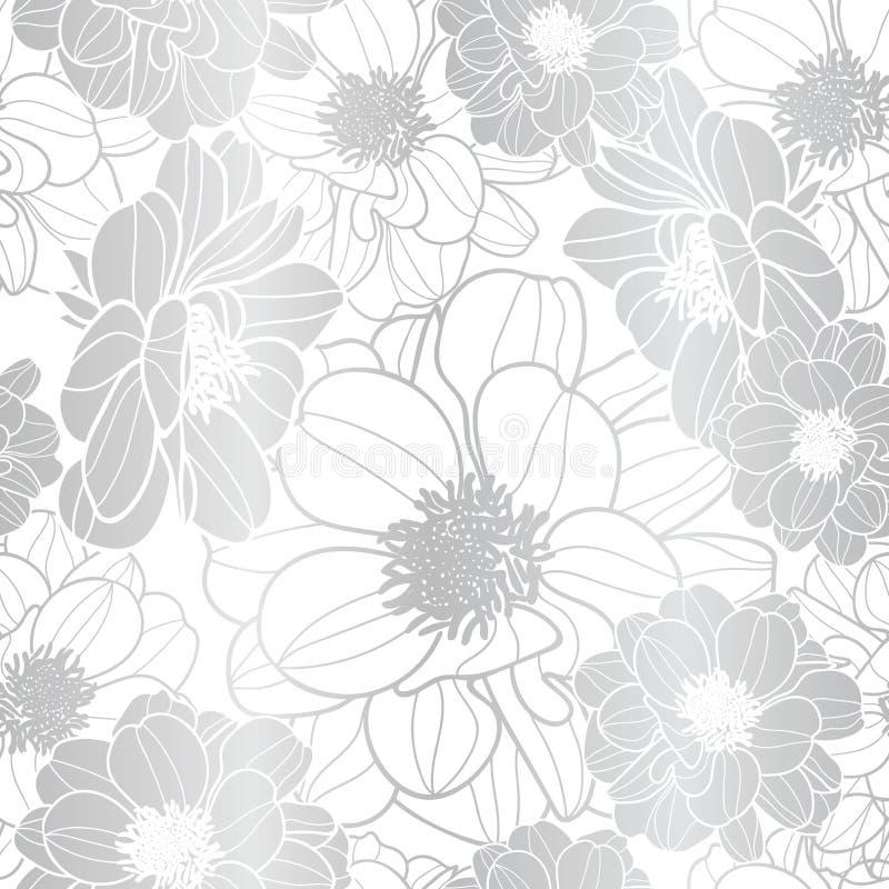 Oeil vibrant attrapant le vecteur de texture de fleurs argentées et blanches illustration de vecteur