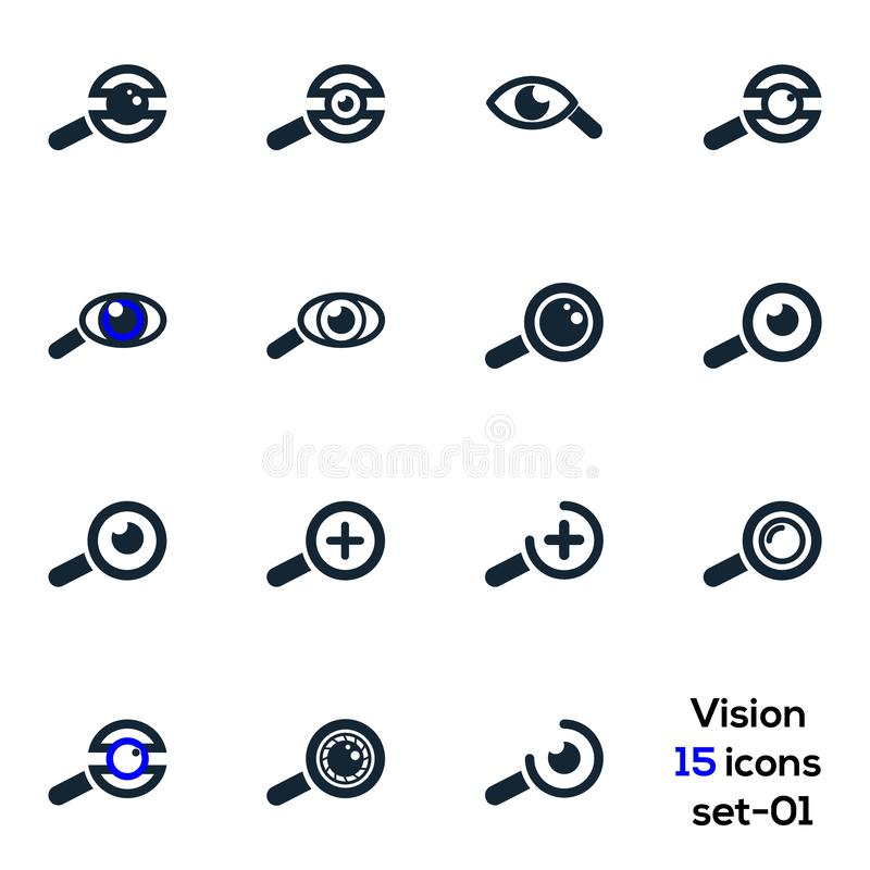 Oeil, vision, affaires, ensemble médical 01 d'icônes de vision illustration libre de droits