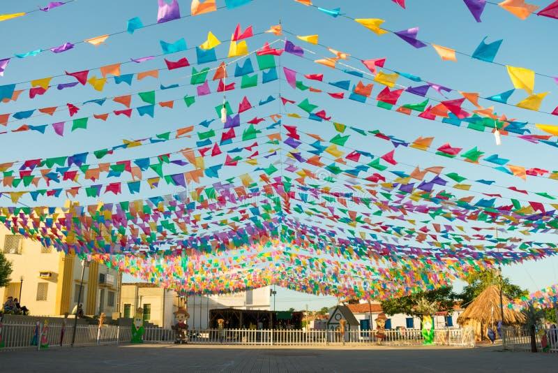 Decorations for the June Festivals aka festas de Sao Joao in the historic center of Oeiras, Brazil. Oeiras, Brazil - Circa June 2019: Decorations for the June stock photography