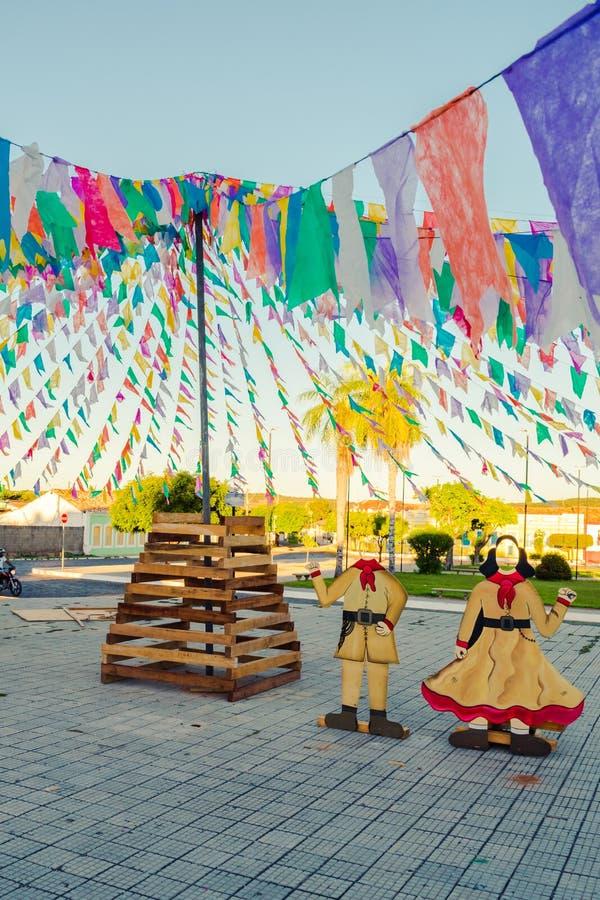 Decorations for the June Festivals aka festas de Sao Joao in the historic center of Oeiras. Oeiras, Brazil - Circa June 2019: Decorations for the June Festivals royalty free stock photo