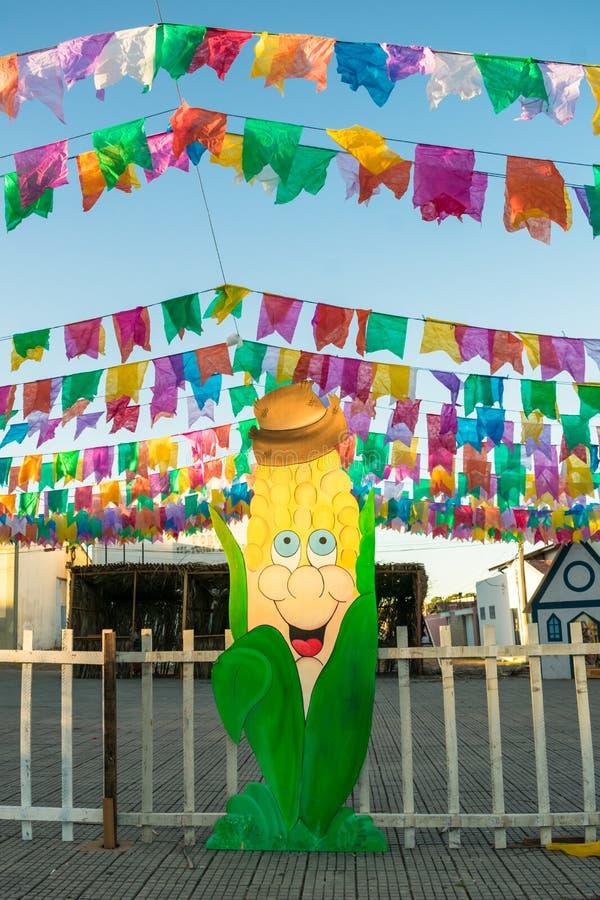 Decorations for the June Festivals aka festas de Sao Joao in the historic center of Oeiras. Oeiras, Brazil - Circa June 2019: Decorations for the June Festivals royalty free stock image