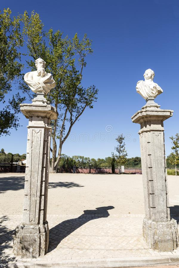Oeiras Palace Garden. Bust statues of poets, philosophers and writers decorating the gardens of the Palace of Marques de Pombal in Oeiras, Portugal stock images